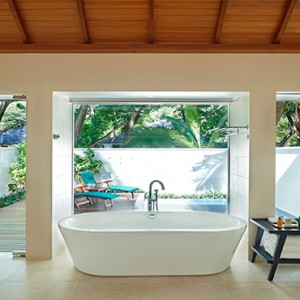 Hilton Seychelles Labriz Resort & Spa - Luxury Seychelles Honeymoon Packages - King Beachfront Villa with pool bathroom