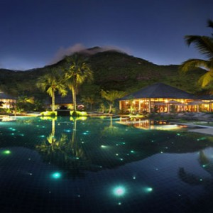 Hilton Seychelles Labriz Resort & Spa - Luxury Seychelles Honeymoon Packages - Pool at night