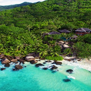 Hilton Seychelles Labriz Resort & Spa - Luxury Seychelles Honeymoon Packages - Silhouette Estates aerial view