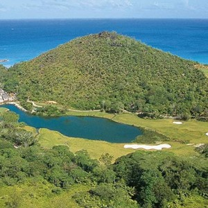 Constance Lemuria - Luxury Seychelles Honeymoon Packages - aerial view of golf course