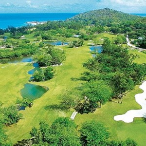 Constance Lemuria - Luxury Seychelles Honeymoon Packages - aerial view of golf course1