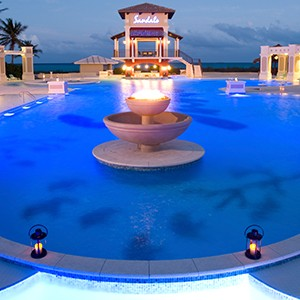 Pool at Night - Sandals Emeral Bay Golf Tennis and Spa Resort - Luxury Bahamas Holidays