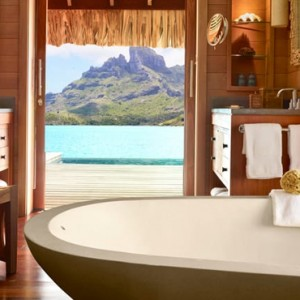 One Bedroom Otemanu Overwater Bungalow Suite - Four Seasons Bora Bora - Luxury Bora Bora Honeymoon Packages