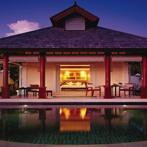 Banyan Tree Seychelles - Luxury Seychelles Honeymoon Packages - Exterior villa at night