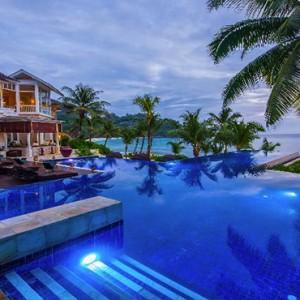 Banyan Tree Seychelles - Luxury Seychelles Honeymoon Packages - Pool at sunset