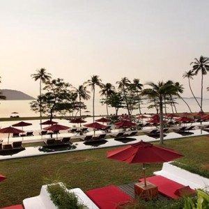The Vijitt - Luxury Thailand Honeymoon Packages - aerial view of beach and pool