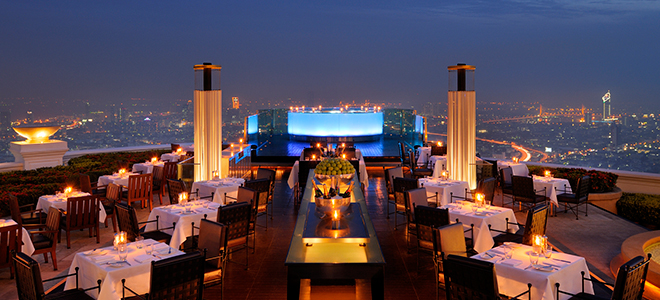 Tower Club at Lebua - Bangkok Honeymoon packages - rooftop restaurant