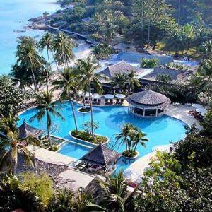 Thailand Honeymoon Packages Melati Beach Resort & Spa Aerial View Of Pool And Sea