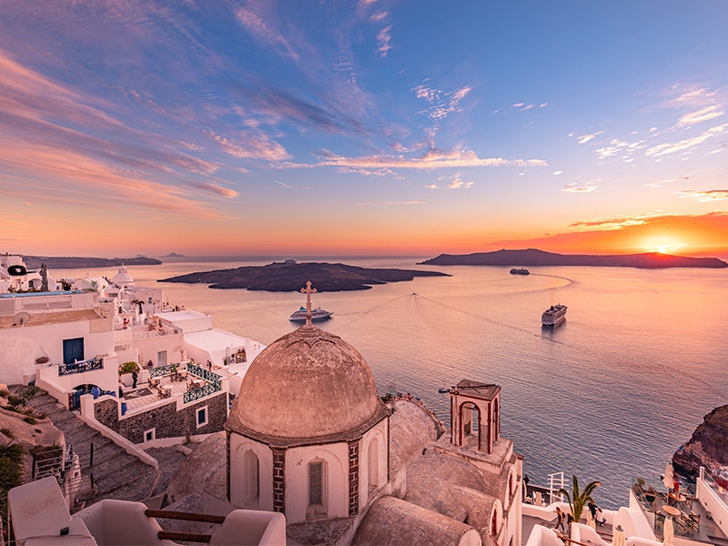 Proposal During Sunset In Santorini Romantic Locations To Propose
