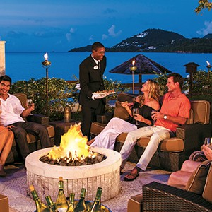 Fire Pit - Sandals Halcyon Beach - Luxury St Lucia Honeymoons