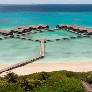 Maldives Honeymoon Packages Shangri La's Villingili Resort And Spa Aerial View Of Water Villas