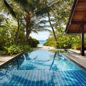 Maldives Honeymoon Packages Shangri La's Villingili Resort And Spa Private Pool And Beach Entrance From The Beach Villa