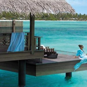 Maldives Honeymoon Packages Shangri La's Villingili Resort And Spa Women On Deck At Water Villa