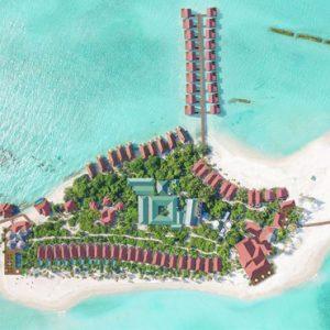 Aerial Island Dhigufaru Island Resort Maldives Honeymoons
