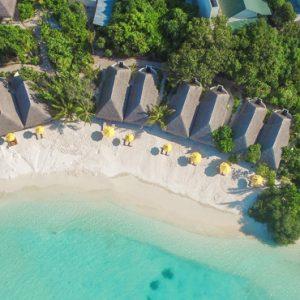 Beach Drone View Dhigufaru Island Resort Maldives Honeymoons