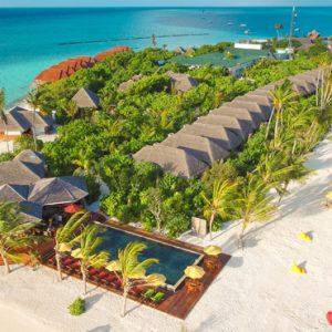 Drone View Dhigufaru Island Resort Maldives Honeymoons