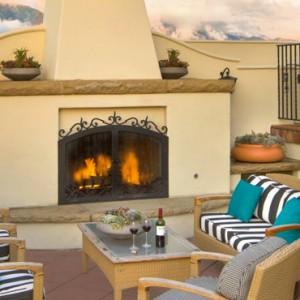 outside fireplace - Kimpton canary Hotel Santa Barbra - Luxury Los Angeles Honeymoon Packages