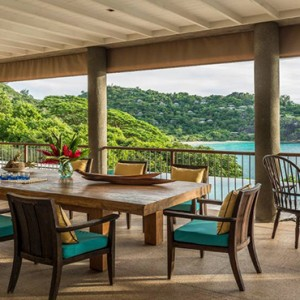 Four Seasons Resort Seychelles - Luxury Seychelles Honeymoon packages - villa dining area