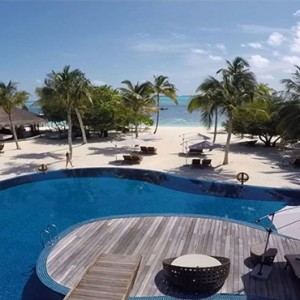 Hideaway Beach Resort and Spa - Luxury Maldives honeymoon packages - aerial view pool