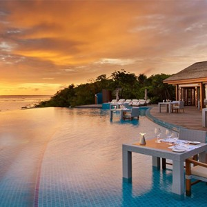 Hideaway Beach Resort and Spa - Luxury Maldives honeymoon packages - sunset pool cafe exterior
