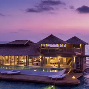 Soneva Jani - Maldives Luxury Honeymoon packages - villa sunset night view