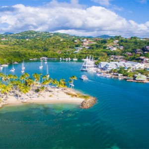 Capella Marigot Bay Resort and Spa - Luxury St Lucia honeymoon packages - Beach aerial view