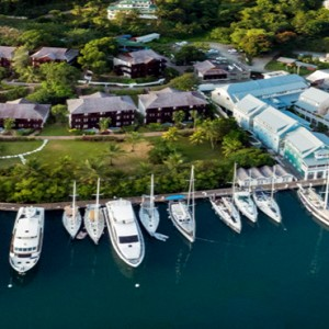 Capella Marigot Bay Resort and Spa - Luxury St Lucia honeymoon packages - Marina aerial view