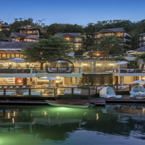 Capella Marigot Bay Resort and Spa - Luxury St Lucia honeymoon packages - exterior at dusk