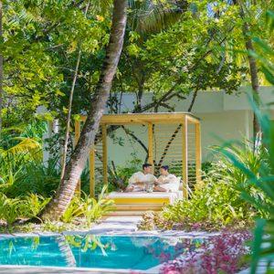 Maldives Honeymoon Packages Dhigali Maldives Spa Couple On Cabana