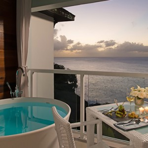 Sunset Bluff Penthouse Oceanview One Bedroom Butler Suite w Balcony Tranquility Soaking Tub - sandals regency la toc - luxury st lucia honeymoons