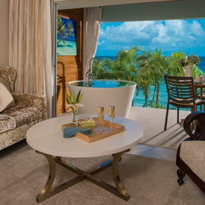 Emerald Beachfront Club Level Junior Suite w Balcony Tranquility Soaking Tub - sandals regency la toc - luxury st lucia honeymoons