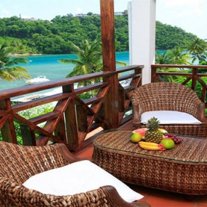 Marigot Beach Club - Luxury St Lucia honeymoon packages - Terrace view