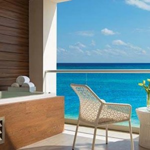 Breathless Riviera Cancun resort and spa - Luxury Mexico Honeymoon packages - Xhale Club Junior Suite terrace