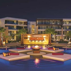 Breathless Riviera Cancun resort and spa - Luxury Mexico Honeymoon packages - exterior at night