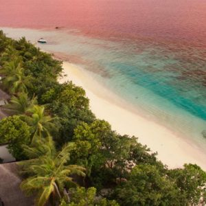 Sunset Aerial View Outrigger Konotta Maldives Resort Maldives Honeymoons