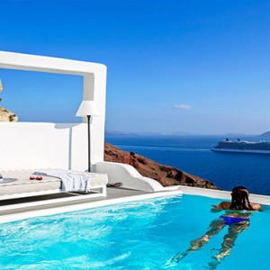 Charisma Suites Santorini - Luxury Greece Honeymoon packages - pool and stunning view