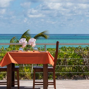 Acajou Beach Resort - Luxury Seychelles Honeymoon Packages -Dining with a view