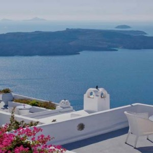 Cliff Side Suites Santorini - Luxury Greece Honeymoon Packages - aerial view of aegean sea