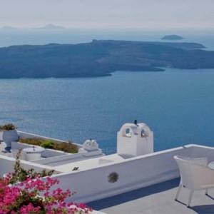 Cliff Side Suites Santorini - Luxury Greece Honeymoon Packages - aerial view of aegean sea