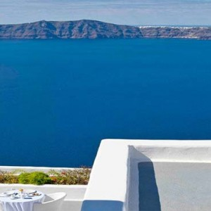 Cliff Side Suites Santorini - Luxury Greece Honeymoon Packages - aerial view of aegean sea1
