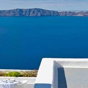 Cliff Side Suites Santorini - Luxury Greece Honeymoon Packages - aerial view of aegean sea1