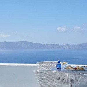 Cliff Side Suites Santorini - Luxury Greece Honeymoon Packages - breakfast views