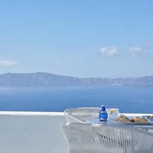 Cliff Side Suites Santorini - Luxury Greece Honeymoon Packages - breakfast views