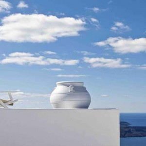 Cliff Side Suites Santorini - Luxury Greece Honeymoon Packages - sun loungers on terrace
