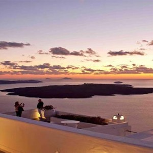 Cliff Side Suites Santorini - Luxury Greece Honeymoon Packages - sunset views
