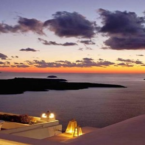 Cliff Side Suites Santorini - Luxury Greece Honeymoon Packages - sunset views1