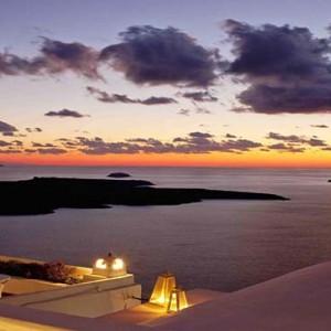 Cliff Side Suites Santorini - Luxury Greece Honeymoon Packages - sunset views1