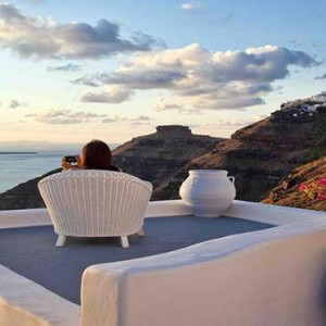 Cliff Side Suites Santorini - Luxury Greece Honeymoon Packages - sunset views2