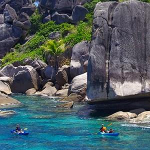 kayaking - six senses zil pasyon - luxury seychelles honeymoon packages