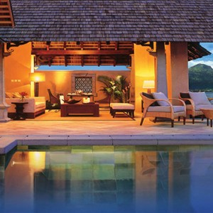 Maradiva Villas Resort & Spa - Luxury Mauritius Honeymoon Packages - Beach Front Luxury Suite Pool Villas exterior at night